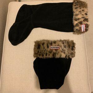 Hunter boot socks leopard print